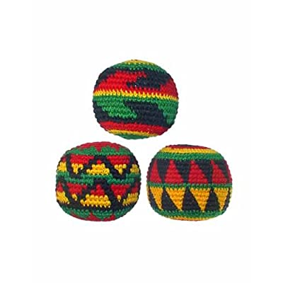 Set of 3 Hacky Sacks, Rasta Colors in Assorted Geometric Patterns: Sports & Outdoors
