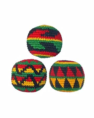 set of 3 hacky sacks rasta colors in assorted geometric patterns