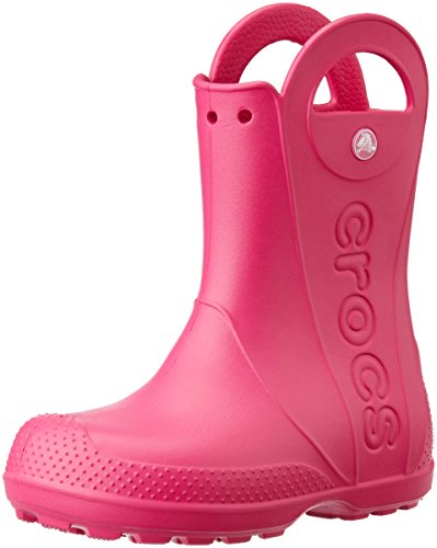 Crocs Kids' Handle It Rain Boots, Easy On for Toddlers, Boys, Girls, Lightweight and Waterproof, Candy Pink, 13 M US Little Kids