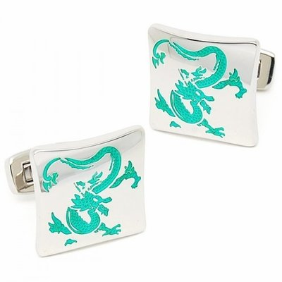 Green Dragon Cufflinks in Stainless Steel Cuff Links Dragon Green Cufflinks