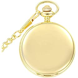 Golden Classic Smooth Full Hunter Pocket Watch with Chain