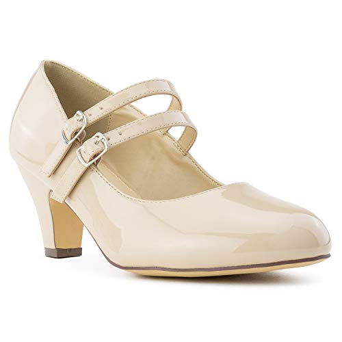 Women's Wide Fit Mary Jane Chunky Heel Dress Pumps (True Wide Width) (True Wide Width) Nude Size.8.5