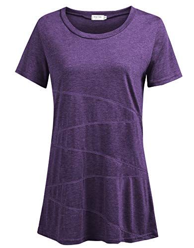 - Women's Casual Loose Short Sleeve Shirts Yoga Tops Activewear Running Workout T-Shirt Blouse (Purple, US XL(16-18))