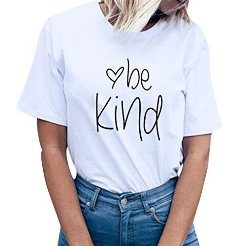 (Funic Women Summer Fashion be Kind Letter Print Short Sleeve T-Shirt Tops Blouse Tee(White,XXL))