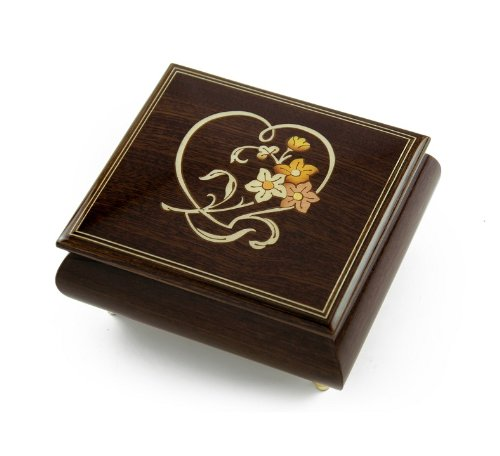 Delightful Warm Wood Tone Musical Jewelry Box with Floral and Heart Outline Inlay - Baby Elephant Walk (Elephant Baby Outline)