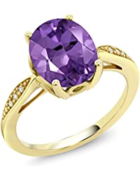 14K Yellow Gold Purple Amethyst and Diamond Women's Ring 2.24 Ct Oval (Available 5,6,7,8,9)