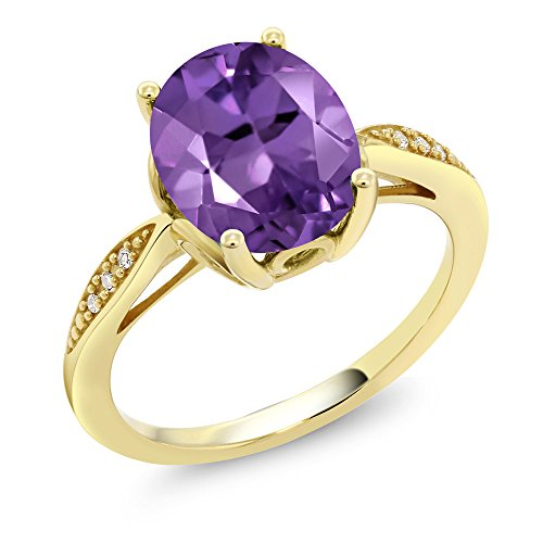 Gem Stone King 14K Yellow Gold Purple Amethyst and Diamond Women s Ring 2.24 Ct Oval Available 5,6,7,8,9