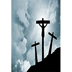 AOFOTO 3x5ft Crucifixion Of Jesus Christ Background Calvary Hill and Three Crosses Photography Backdrop Resurrection Religious Lent Holy Week Passion Kid Portrait Easter Photo Studio Props