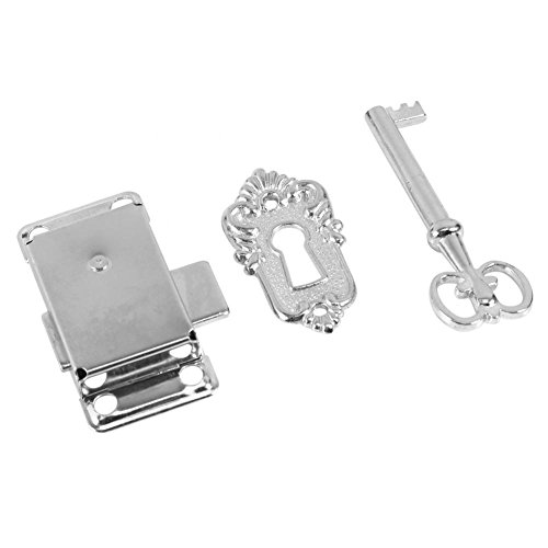 GLOGLOW Vintage Style Cabinet Door Lock Set Classical Drawer Wardrobe Cupboard Door Alloy Lock Assembly with Key Surface Mounted Hardware