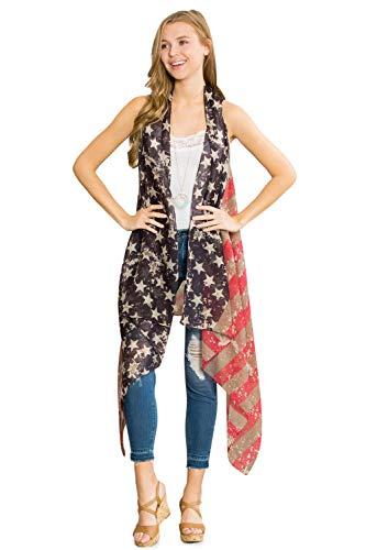 American Flag Patriotic Print Costume - July 4 USA Stars Stripes Open Kimono Cardigan, Shawl Vest, Wrap Scarf (Long Vest - Rustic -
