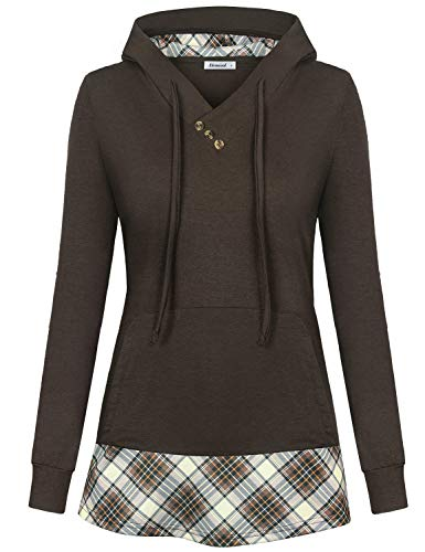 (Hoody Tops for Women,Pullover Lightweight Hoodie Long Sleeve Winter Cool Contrast Color Drawstring Retro Vintage Fall Casual Check Plaid Loose V Neck Petite Sweatshirts,Brown)