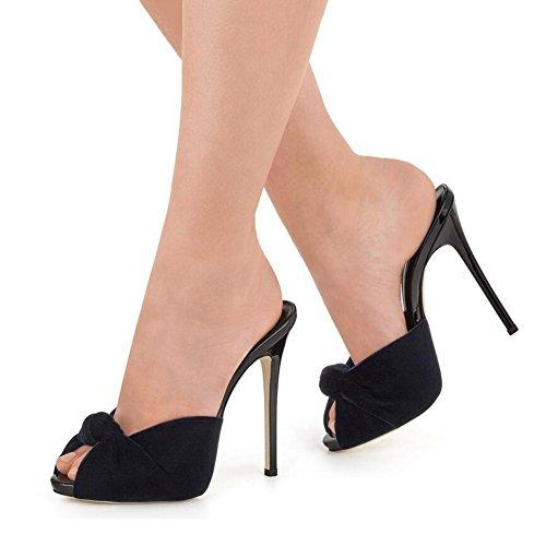 Damas Zapatos Americano Tacón De Negro Sandalias Alto Shinik Tamaño Mujer Y Europeo Terciopelo Anudado Deslizador Black Rojo 43 2018 Nuevos color 0qwxxE8