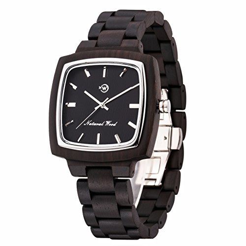 New Now Men's Watch Swiss 763 Movement Analog Quartz Natural Real Wood Watches with Gift Box (Black) by New Now