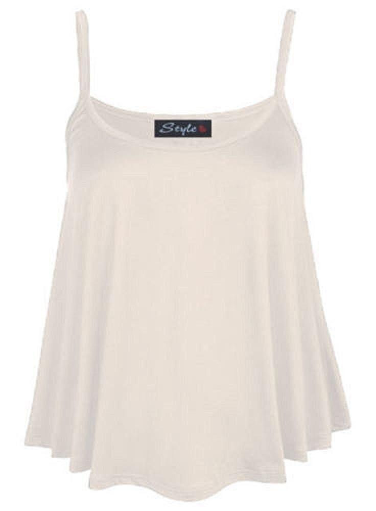 81203aafebc New Womens Plain Swing Vest Sleeveless Top Strappy Cami Ladies Flared Plus  Size 8-26  Amazon.co.uk  Clothing
