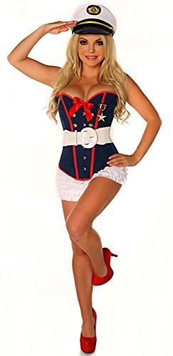 Female Marine Costume (Daisy corsets 4 PC Sexy Marine Sexy Women's Costume)