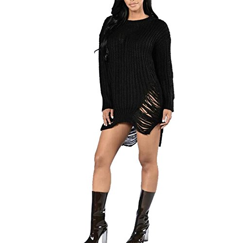 Herebuy8 Women's Casual Hollow Out Side Slit Irregular Loose Tassel Ripped Top Knitted Pullovers Sweater (Black)