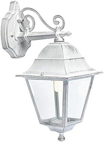 Applique in basso classica lampada da parete per esterno bianco-argento