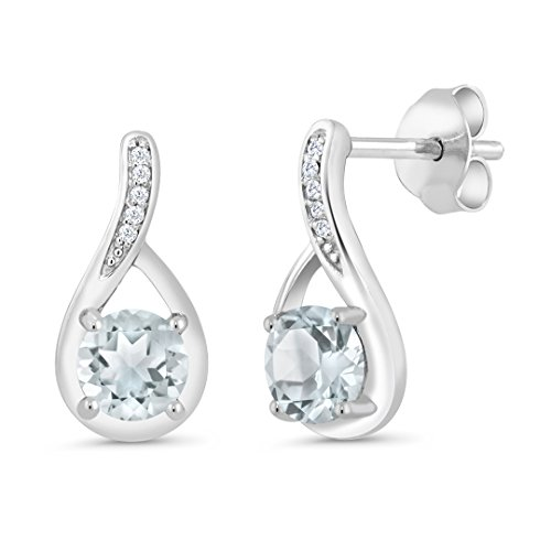 (Gem Stone King 0.87 Ct Round Sky Blue Aquamarine and Diamond 925 Sterling Silver Infinity Earrings)