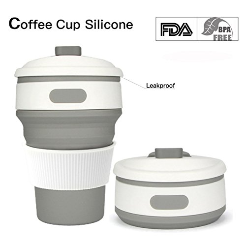 Price comparison product image Collapsible Cup Collapsible Coffee mug Travel Mug Food-Grade Portableleakproof Pocket Cup 350ML For Outdoor Sports Camping And Hiking Office Home Use (Gray)