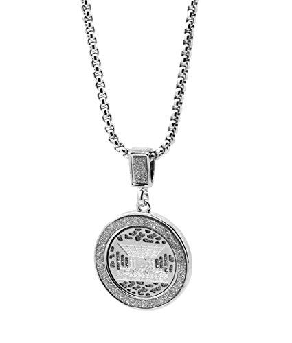 (Men Silver Stardust Iced Last Supper Medallion Pendant Hip Hop 24