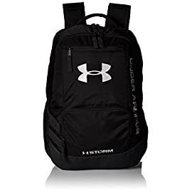 "Under Armour Unisex Team Hustle backpack 6 UA Storm technology delivers an element-battling, highly water-resistant finish Tough, abrasion-resistant bottom panel Soft lined laptop sleeve-holds up to 15"" laptop"