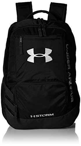 "Under Armour Unisex Team Hustle backpack 1 UA Storm technology delivers an element-battling, highly water-resistant finish Tough, abrasion-resistant bottom panel Soft lined laptop sleeve-holds up to 15"" laptop"