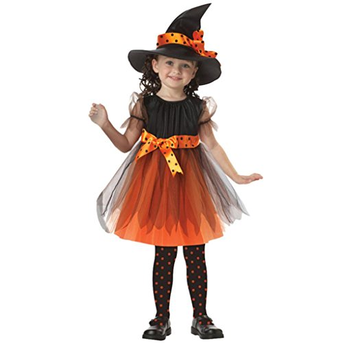 Fullfun Disguise Girls Toddler Fairytale Witch Costume Dresses+Hat Outfit 2-15T (3-4T, yellow)]()