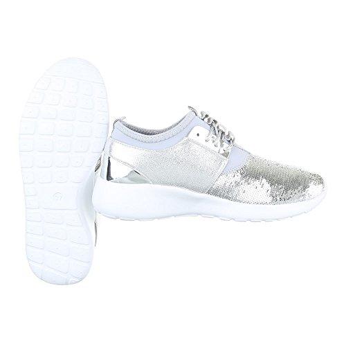 Ital-Design Low-Top Sneaker Damenschuhe Low-Top Sneakers Schnürsenkel Freizeitschuhe Silber