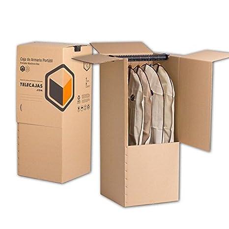 Pack de 2 Cajas Armario Portátiles de Cartón 50x50x100 cms Doble Pared. Incluye BARRA PERCHERO (x2) TELECAJAS