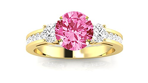 - 14K Yellow Gold Channel Set 3 Three Stone Diamond Engagement Ring with a 3 Carat Pink Sapphire Heirloom Quality Center