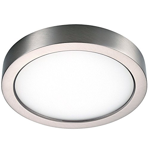GetInLight Round 6-inch Dimmable Flush Mount Ceiling Fixture, (2nd Generation), 11 Watt, Brushed Nickel Finish, 3000K Soft White, 65W Replacement, Damp Location Rated, ETL Listed, (Modern Silver Ceiling Fixture)