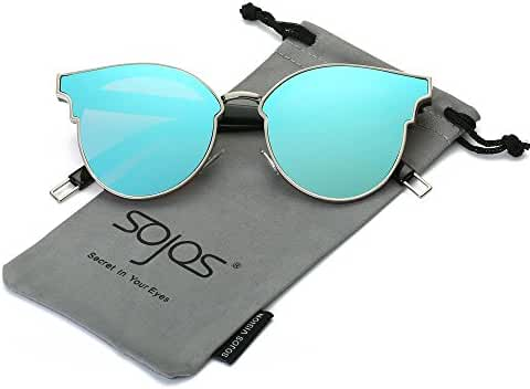 SojoS Fashion Designer Cateye Women Sunglasses Oversized Flat Mirror Lens SJ1055