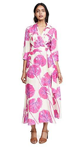 Diane von Furstenberg Women's Collared Floor Length Dress, Kimono Leaf Almond, Pink, Floral, Small Diane Von Furstenberg Silk Dress