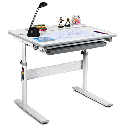BABY JOY Kids Desk, Height Adjustable, Children Interactive Workstation with Storage Drawer, Tilted Desktop, Teens Study Table for Writing, Reading and Drawing (Gray)