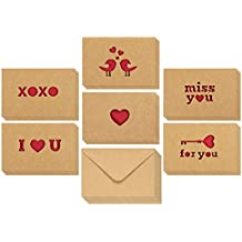 12-Pack Love Cards - Romantic Greeting Cards for Valentine's Day, Anniversaries, 6 Assorted Kraft Card Designs with Miss You, I Love You and Other Die Cut Designs, Brown, 4 x 6 Inches