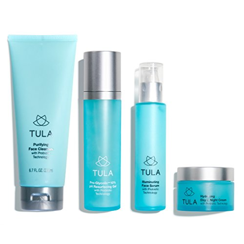 Full Care Kit - TULA Probiotic Skin Care Discovery Kit - Full-Sized Facial Cleanser, Day & Night Moisturizer, Illuminating Serum & Pro-Glycolic Resurfacing Gel for Glowing and Youthful Skin