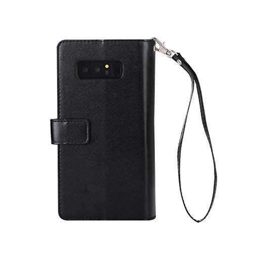 Galaxy Note 8 Case Hülle, KANTAS Brieftasche Flip Case Geldbörse mit 9 Kartenfächer PU Leder Handyhülle, Samsung Galaxy Note 8 Taschenhülle Wallet Ledertasche mit Magnet Standfunktion Geldbeutel Schut Schwarz