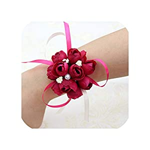Wedding Decor Marriage Rose Wrist Corsages Hand Flower Silk Lace Pe Foam Artificial Brides Bridesmaid Wrist Flower Christmas,Style 1 Hot Rose 64