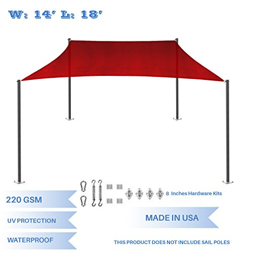 E K Sunrise 14 x 18 Waterproof Sun Shade Sail with Stainless Steel Hardware Kit-Red Rectangle UV Block Perfect for Canopy Outdoor Garden Backyard-Customized