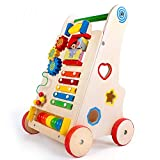 Ybriefbag-Toys Baby Three-in-one Activity Walker Early Childhood Wooden Children's Walker Multi-Function Baby Baby Walker Stroller Step-by-Step (Color : Wood, Size : 513330CM)