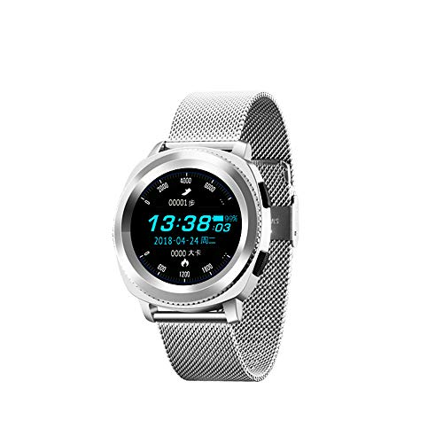 WSAN Smart Watch IP68 Waterproof Swimming Heart Rate Blood Pressure Sleep Detection Step Music Information Mobile Phone Reminder Bracelet Positioning,Silver