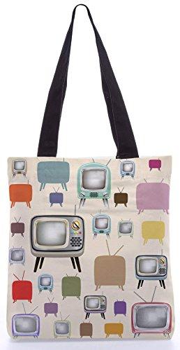 Snoogg Televison Vibes13.5 x 15 Zoll-Shopping-Dienstprogramm-Einkaufstasche aus Polyester-Segeltuch gemacht