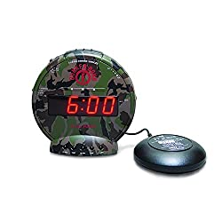 By-Sonic Alert Home Alarm Clock, Bunker Bomb Digital Loud Small Bedside Alarm Clock