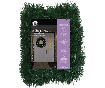 (GE 8 Foot Holiday Classics Pine Garland, Clear Lights)