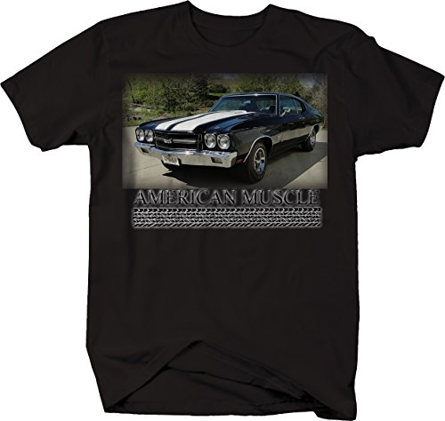(American Muscle Car Chevy Chevelle SS Racing Classic Tshirt - Medium Jet Black )