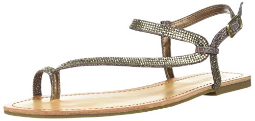 Gold Braid Heels Shoes (Kenneth Cole REACTION Women's Just Braid Toe Ring and Ankle Straps Flat Sandal, Gold/Multi, 10 M US)