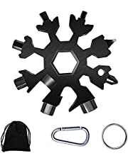 Snowflake Multi-Tool, 18-in-1 Snowflake Tool Stainless Steel with a Storage Bag, a Key Ring and a Carabiner Clip (Black) …