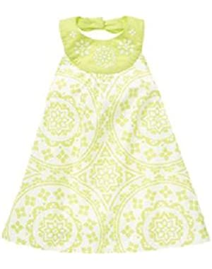 Girls Greek Isle Style Green White Print Halter Sun Dress 3-6 months