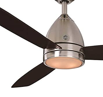 Amazon ge 52 inch sleek and modern savanna brushed nickel ge 52 inch sleek and modern savanna brushed nickel ceiling fan with matte white acrylic mozeypictures Gallery