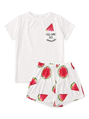 - DIDK Women's Cute Cartoon Print Tee and Shorts Pajama Set White Watermelon XXL
